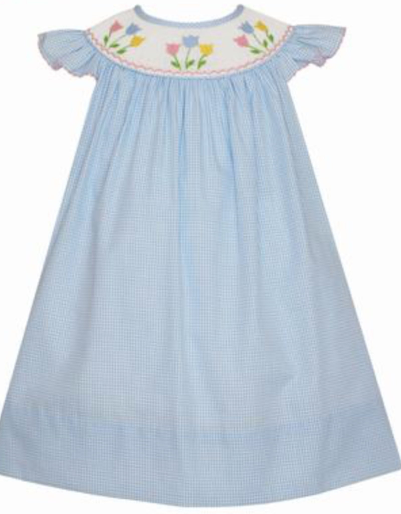 Petit Bebe Blue Gingham Angel Wing Dress With Tulips