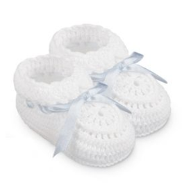 Jefferies Socks White And Blue Crochet Bootie NB (2681)
