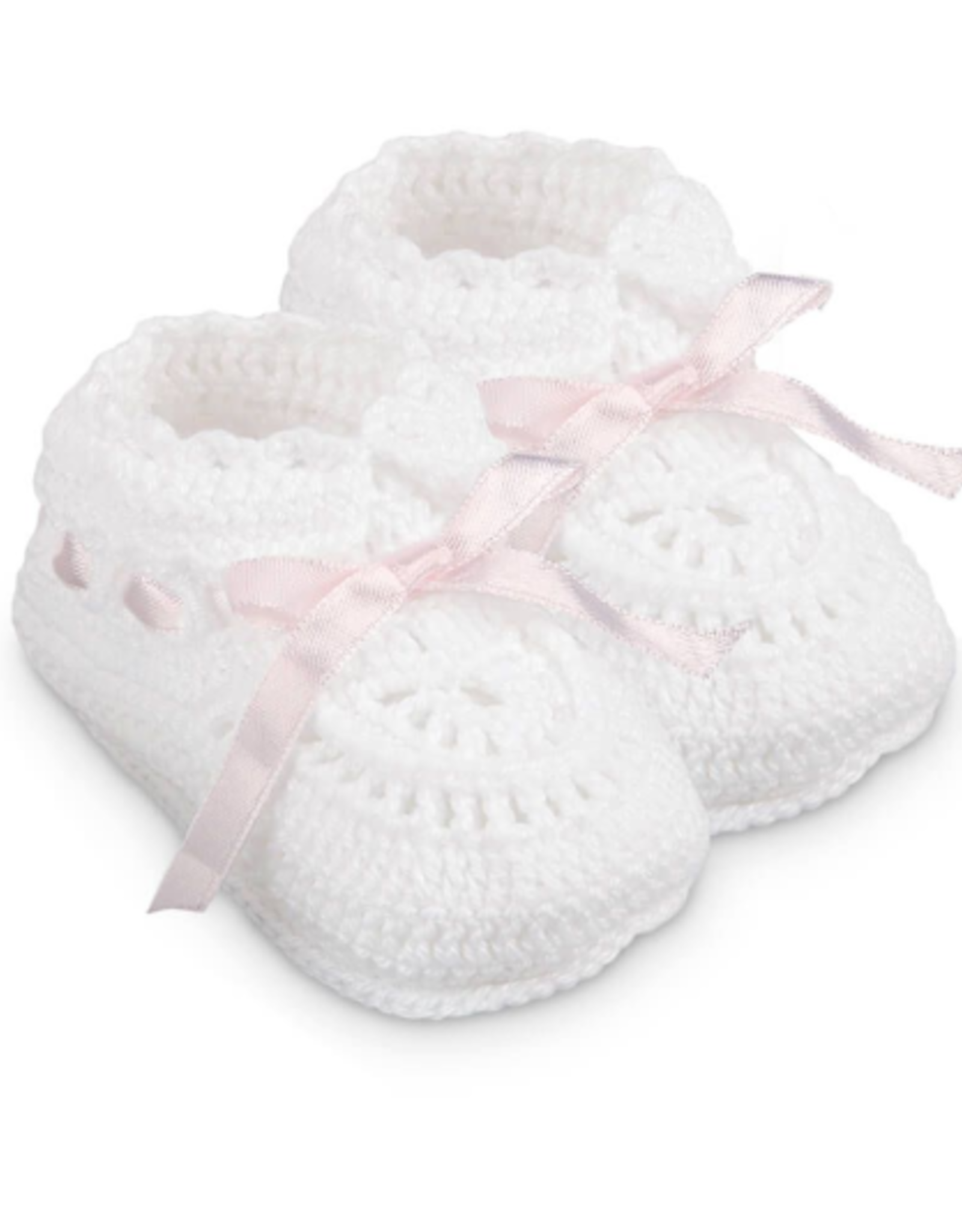 Jefferies Socks White And Pink Crochet Bootie NB 2681