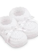 Jefferies Socks White Crochet Bootie NB 2681