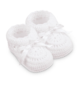 Jefferies Socks White Crochet Bootie NB 2681