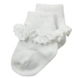 Jefferies Socks White Ruffle Ribbon Sock 2125