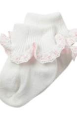 Jefferies Socks White and Pink Ruffle Ribbon Sock 2125