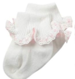 Jefferies Socks White and Pink Ruffle Ribbon Sock 2125