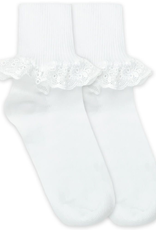 Jefferies Socks White Eyelet Ruffle Socks 2154