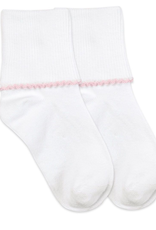 Jefferies Socks White and Pink Basic Turn Cuff 2111
