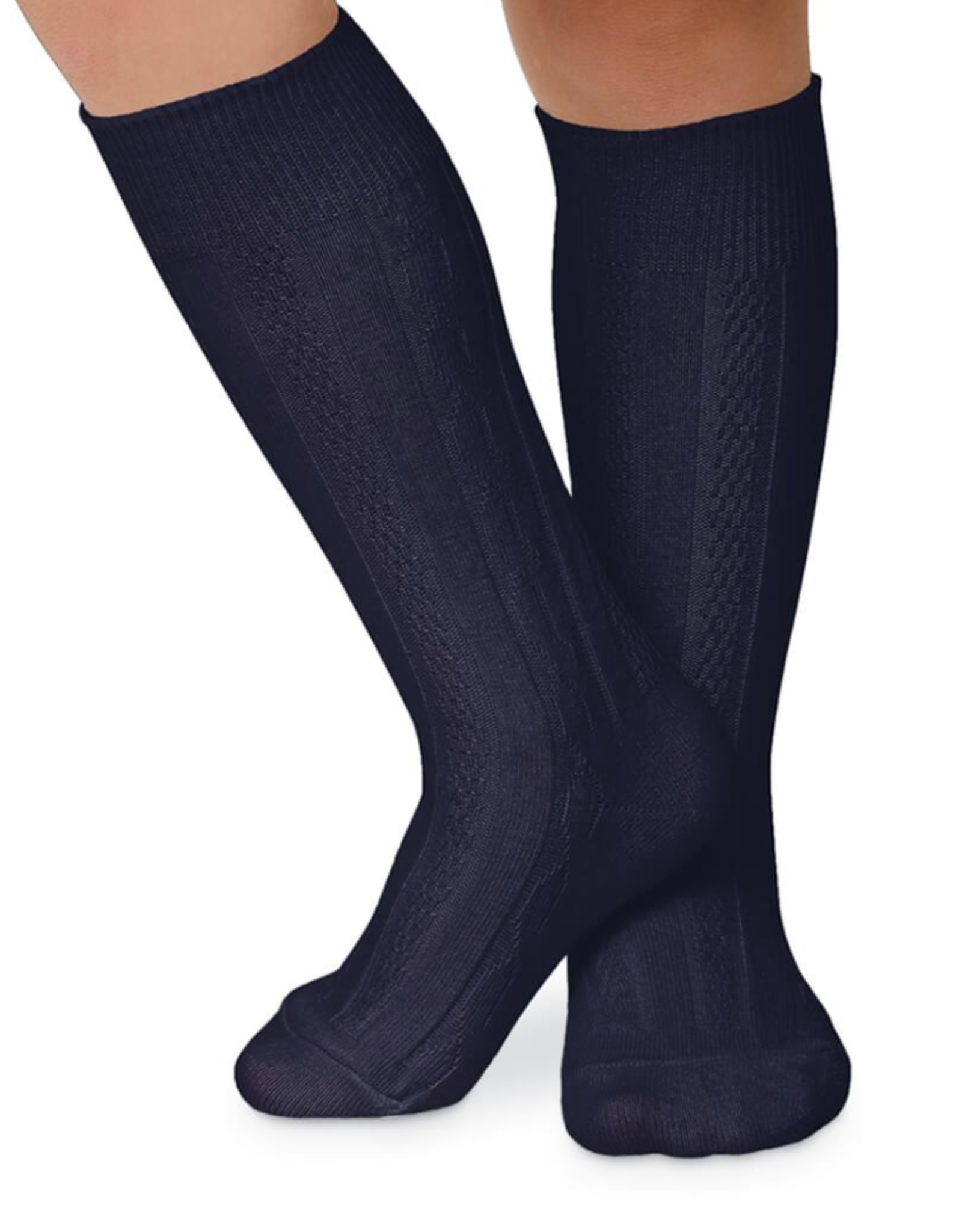 Jefferies Socks Navy Cable Knit Knee High 1625