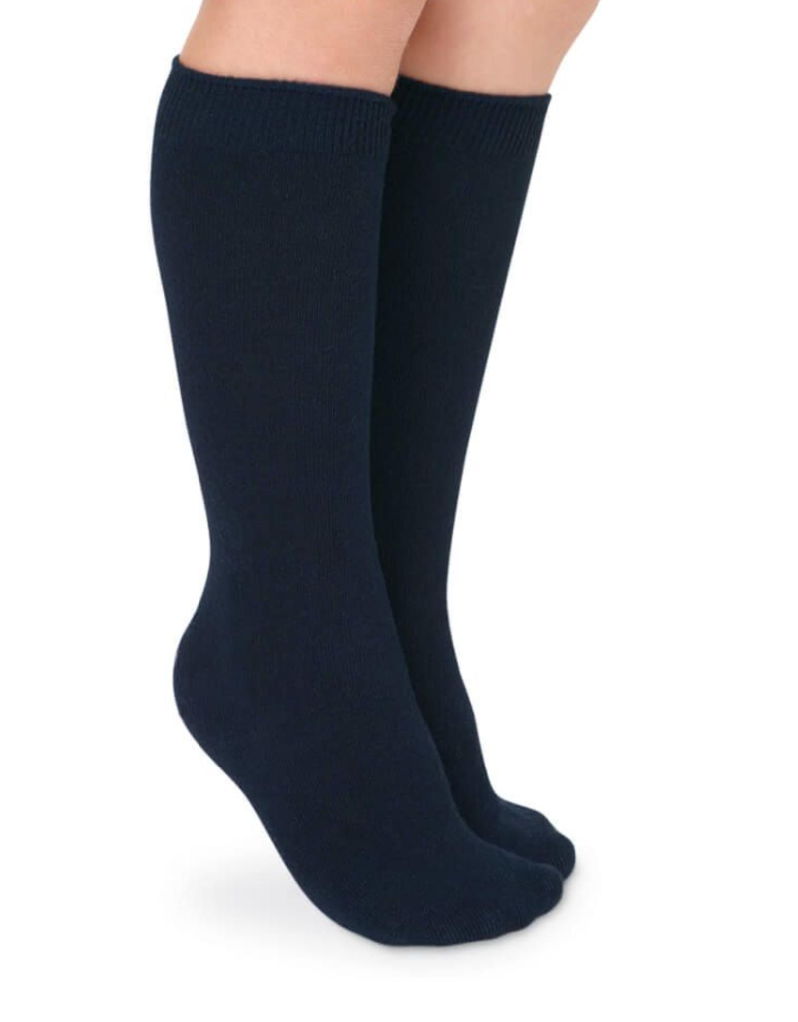 Jefferies Socks Navy Cotton Knee High 2 Pack 1600