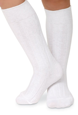 Jefferies Socks White Cable Knit Knee High 1625