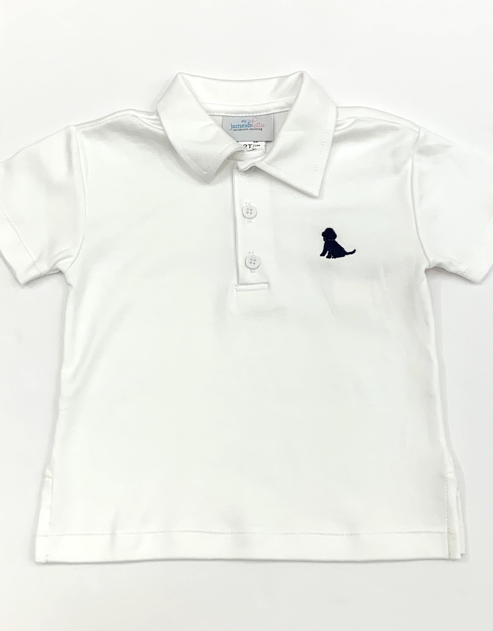 James and Lottie White Polo With Navy Puppy