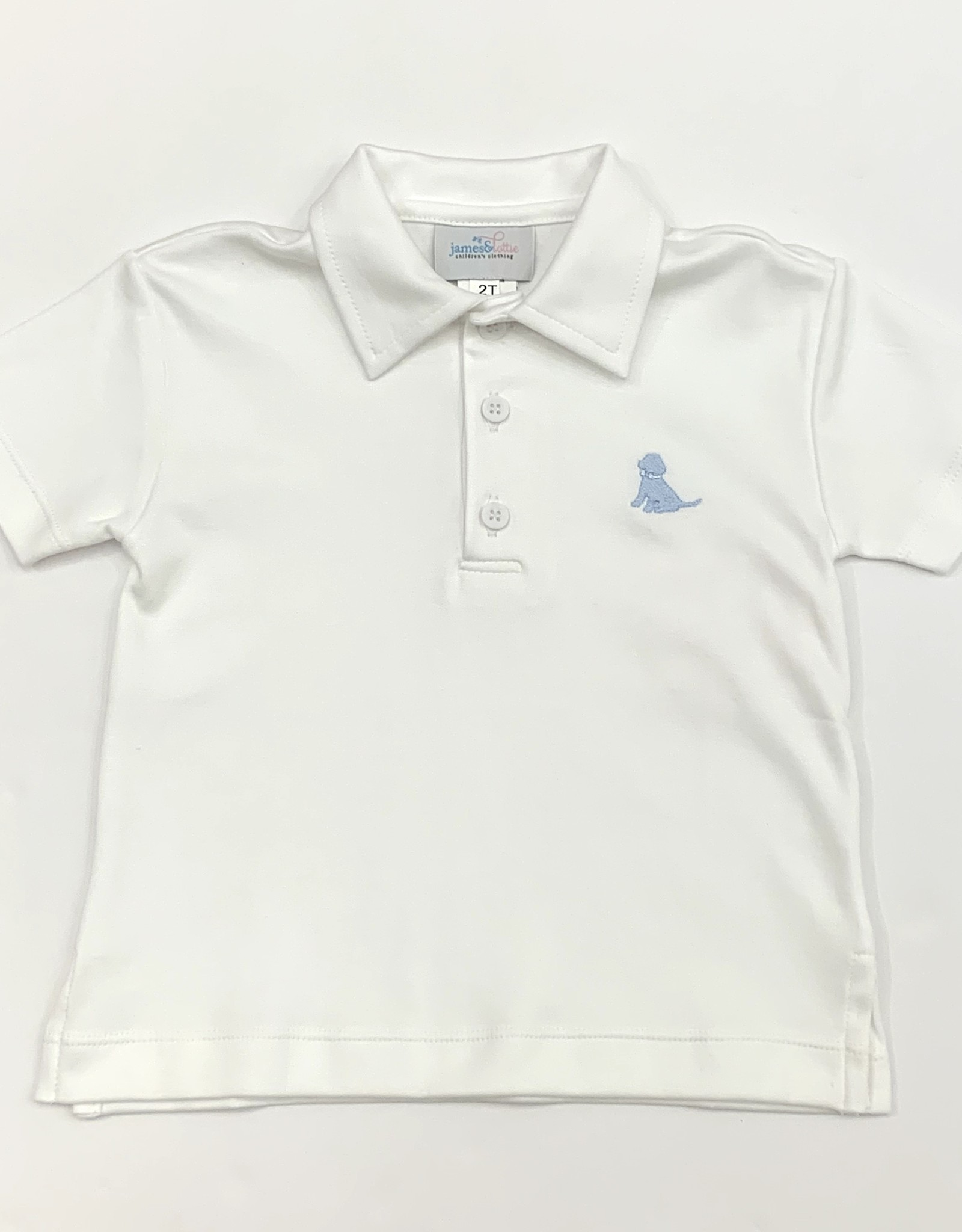 James and Lottie White Polo With Blue Puppy