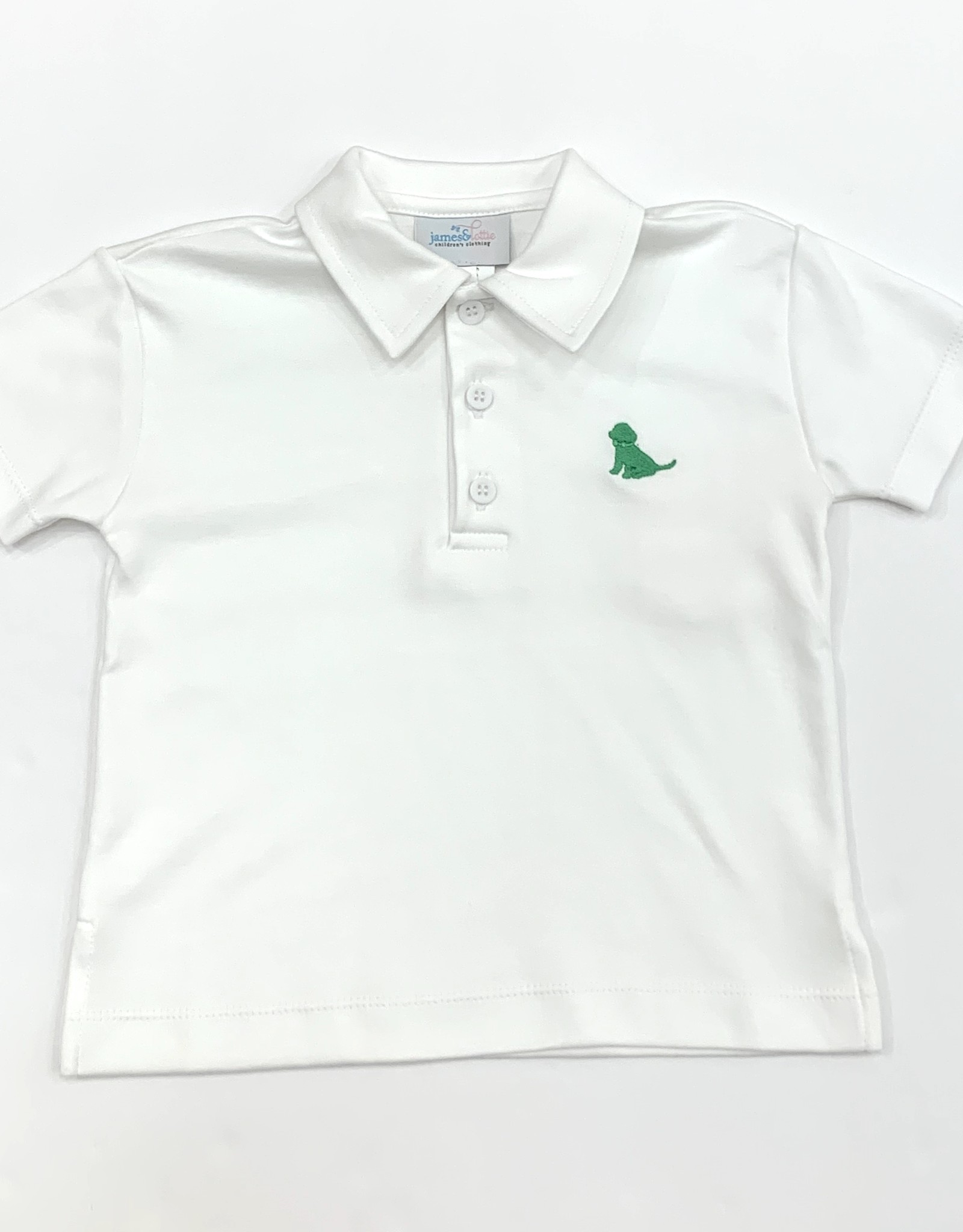 James and Lottie White Polo With Green Puppy