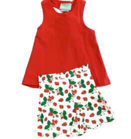 Sage and Lilly Sweet Strawberry Knot Back Tank Short Set