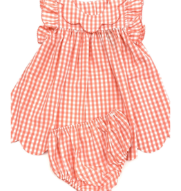 Sage and Lilly Rock The Boat Scallop Hem Dress/Bloomers-Coral Check