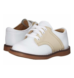 Footmates Cheer White And Ecru Saddle Oxford