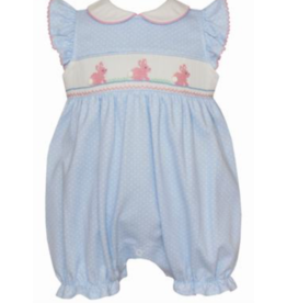 Petit Bebe Girls Blue Smocked Bubble With Bunnies And White Dots