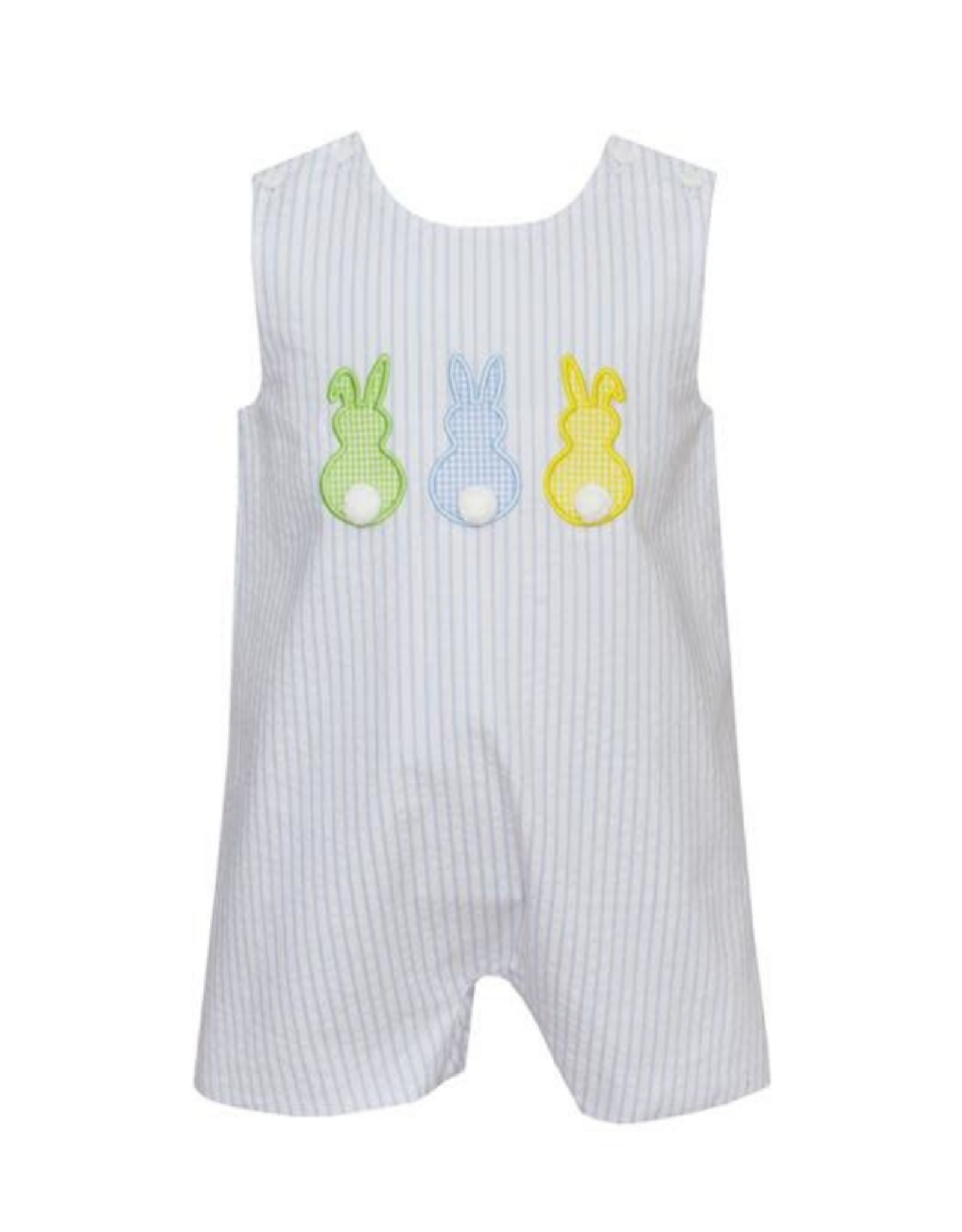Claire and Charlie Cottontails Blue Seersucker Shortall