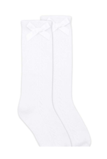 Jefferies Socks White Tall Sock With Bow 1650