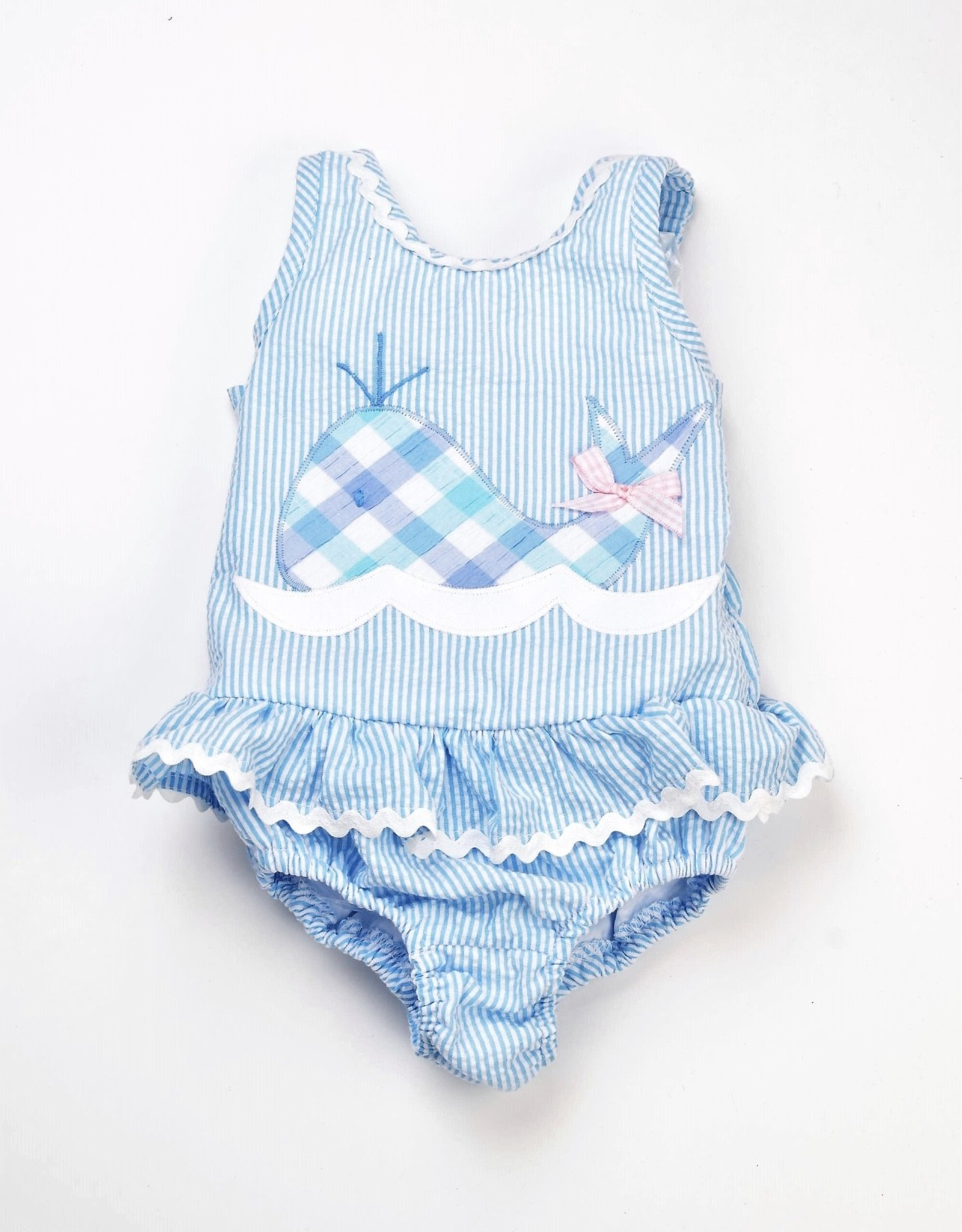 Funtasia Too Embroidered One Piece Whale Swimsuit