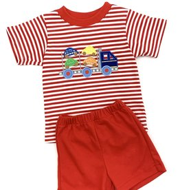 Claire and Charlie Firetruck Striped Shorts Set