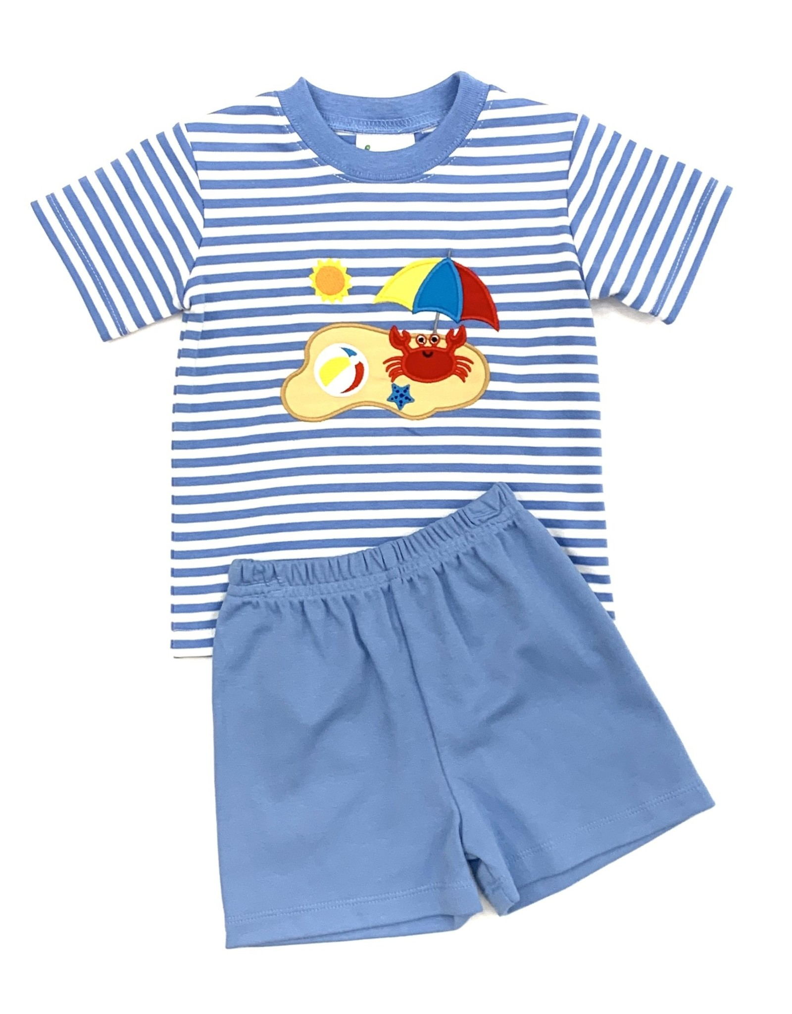 Zuccini Knit Crab Blue Stripe Short Set