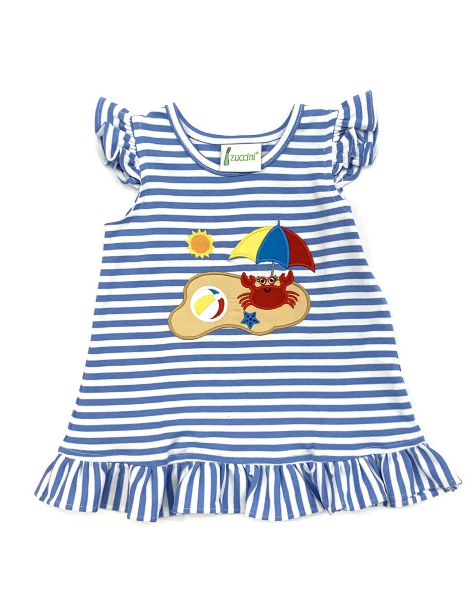 Zuccini Crab Ruffled Blue Stripe Party Dress