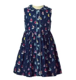 Rachel Riley Navy Sailboat Button Front Dress