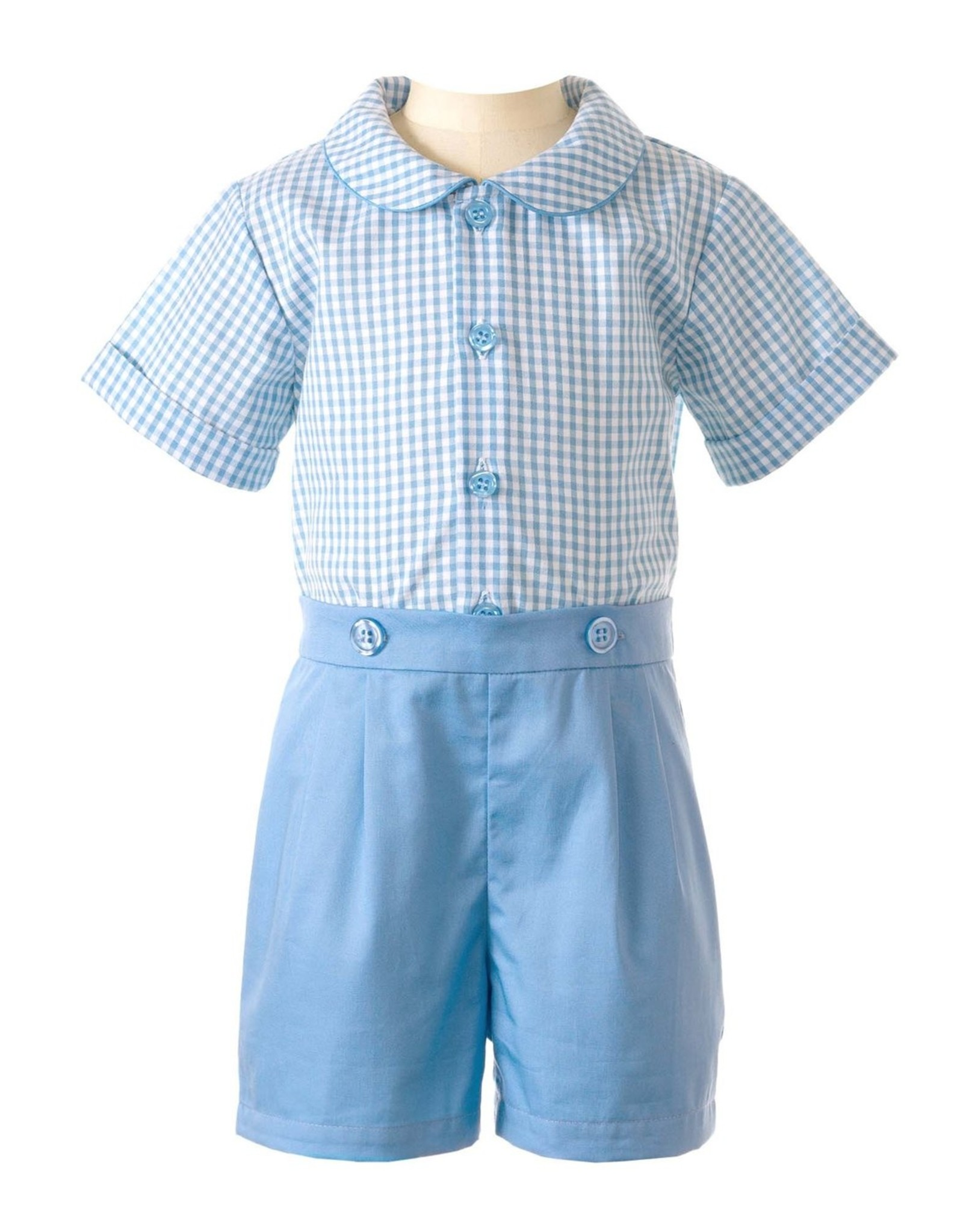 Rachel Riley Blue Gingham Shirt And Short Set