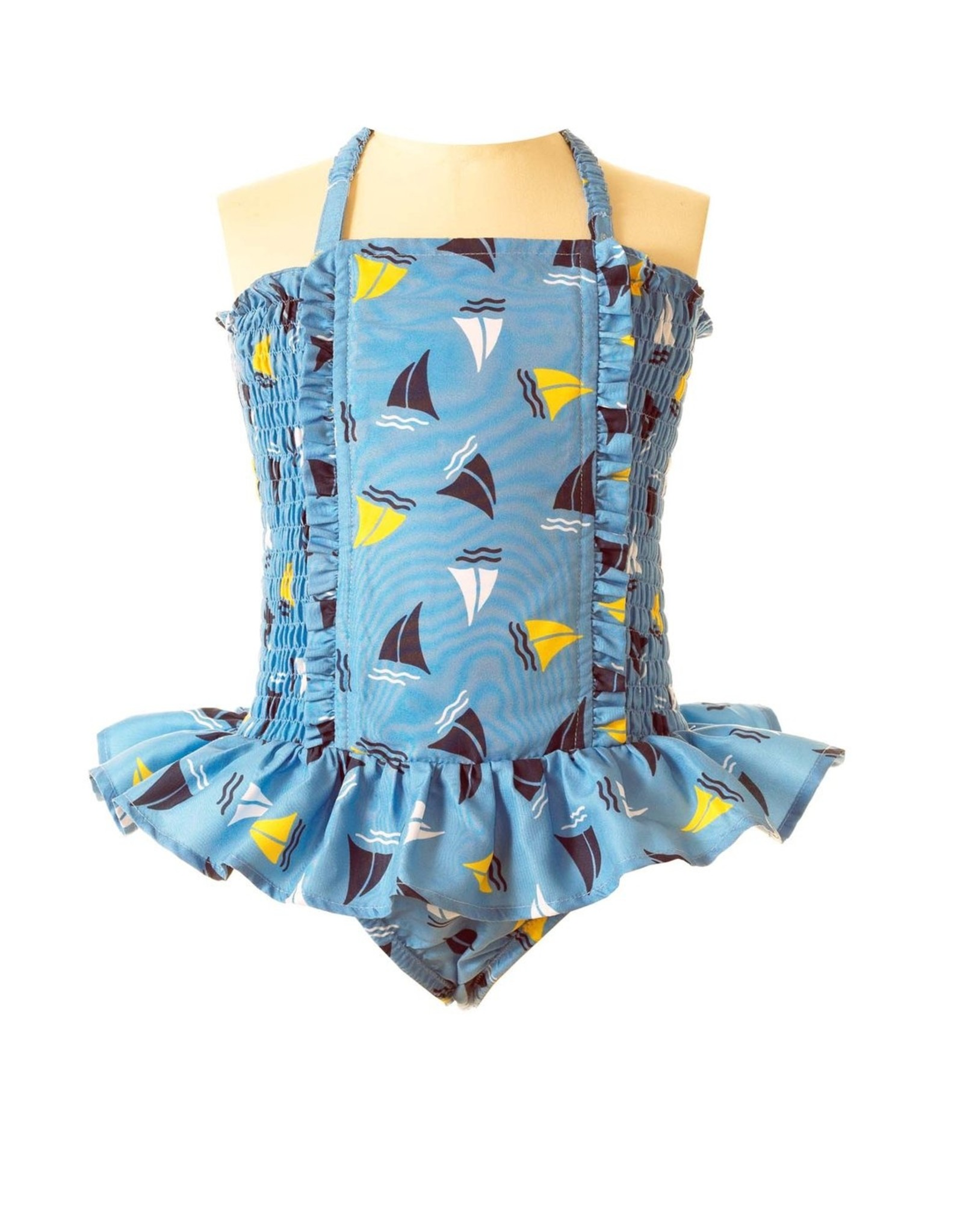Rachel Riley Sailboat Ruched Swimsuit