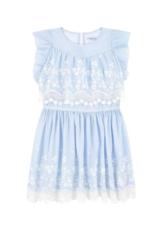 Mayoral Blue Embroidered Poplin Dress