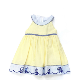 Florence Eiseman Yellow Seersucker Sailboat Dress