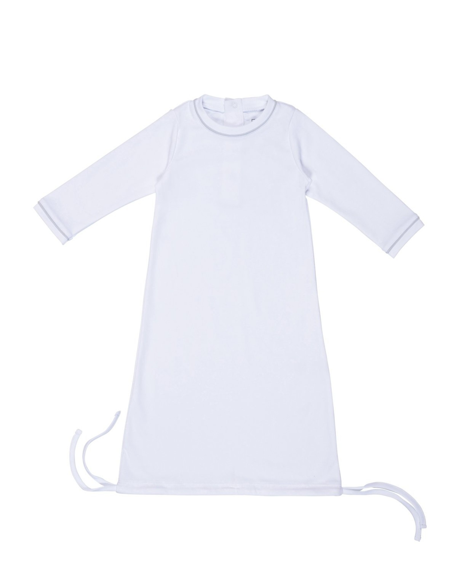 Lila and Hayes George Daygown White w/ Blue Piping