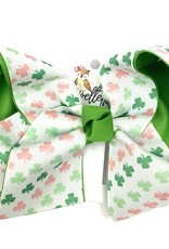 Howelette Hairbows Green And Pink Shamrocks Bow