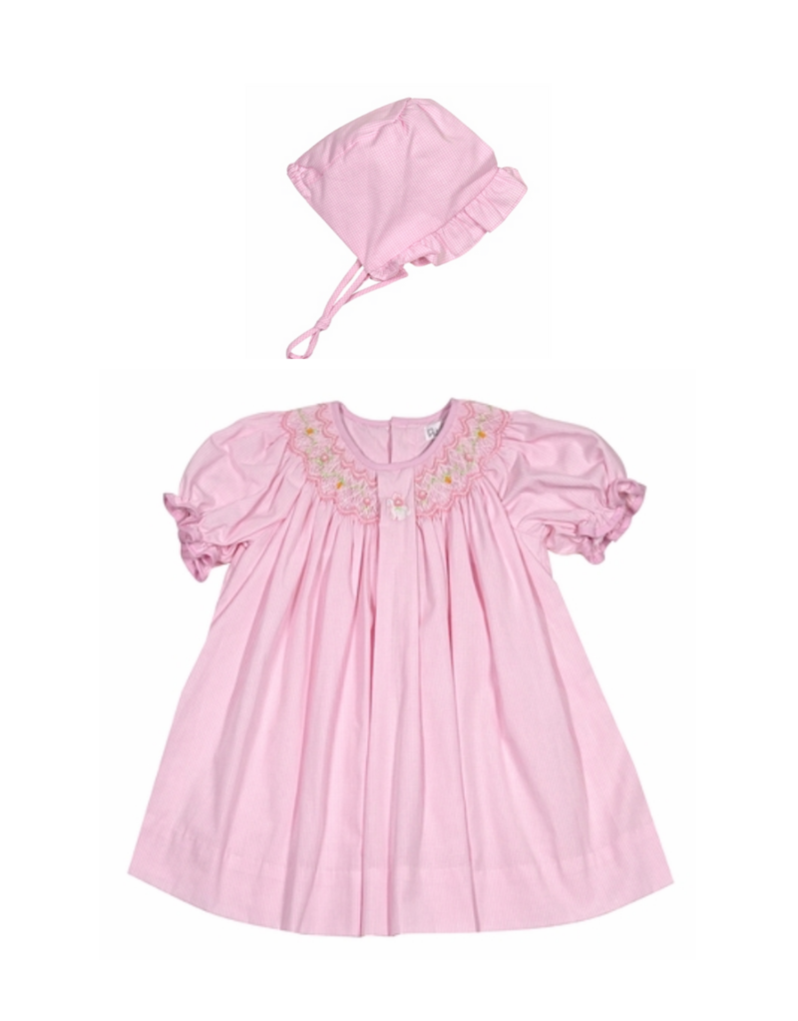 Petit Ami Pink Smocked Bunny Dress With Bonnet