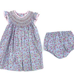 Petit Ami Blue Dress With Flowers And Pearls Bloomer Set