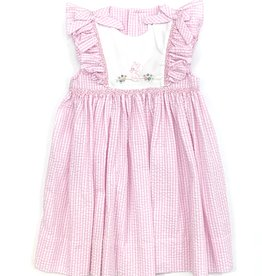 Petit Ami Pink And White Bunny Seersucker Dress