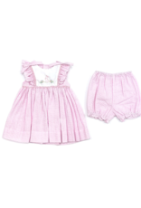 Petit Ami Pink And White Bunny Seersucker Dress With Bloomer Set