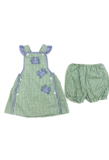 Petit Ami Green And Blue Crab Check Dress With Bloomer Set