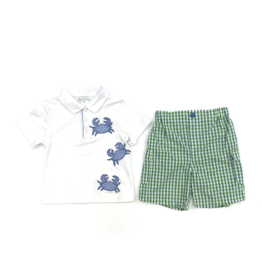 Petit Ami White Shirt With Blue Crab And Checkered Short Set