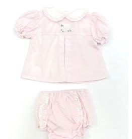 Petit Ami Pink Top With Lamb Bloomer Set