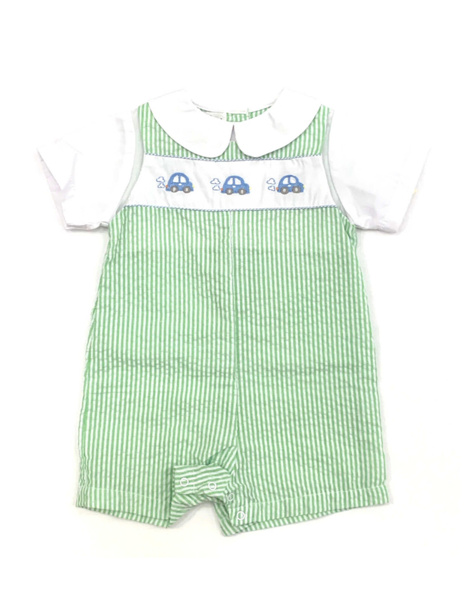 Petit Ami Green And White Seersucker Romper With Cars