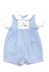 Petit Ami Blue And White Seersucker Romper With Bunny