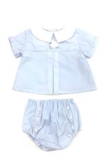 Petit Ami Blue Top With Lamb Diaper Set