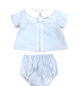 Petit Ami Blue Top With Lamb Diaper Set
