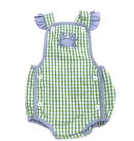 Petit Ami Green And Blue Checkered Girl Bubble With Crabs
