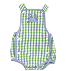 Petit Ami Green and Blue Checkered Boy Bubble With Crabs
