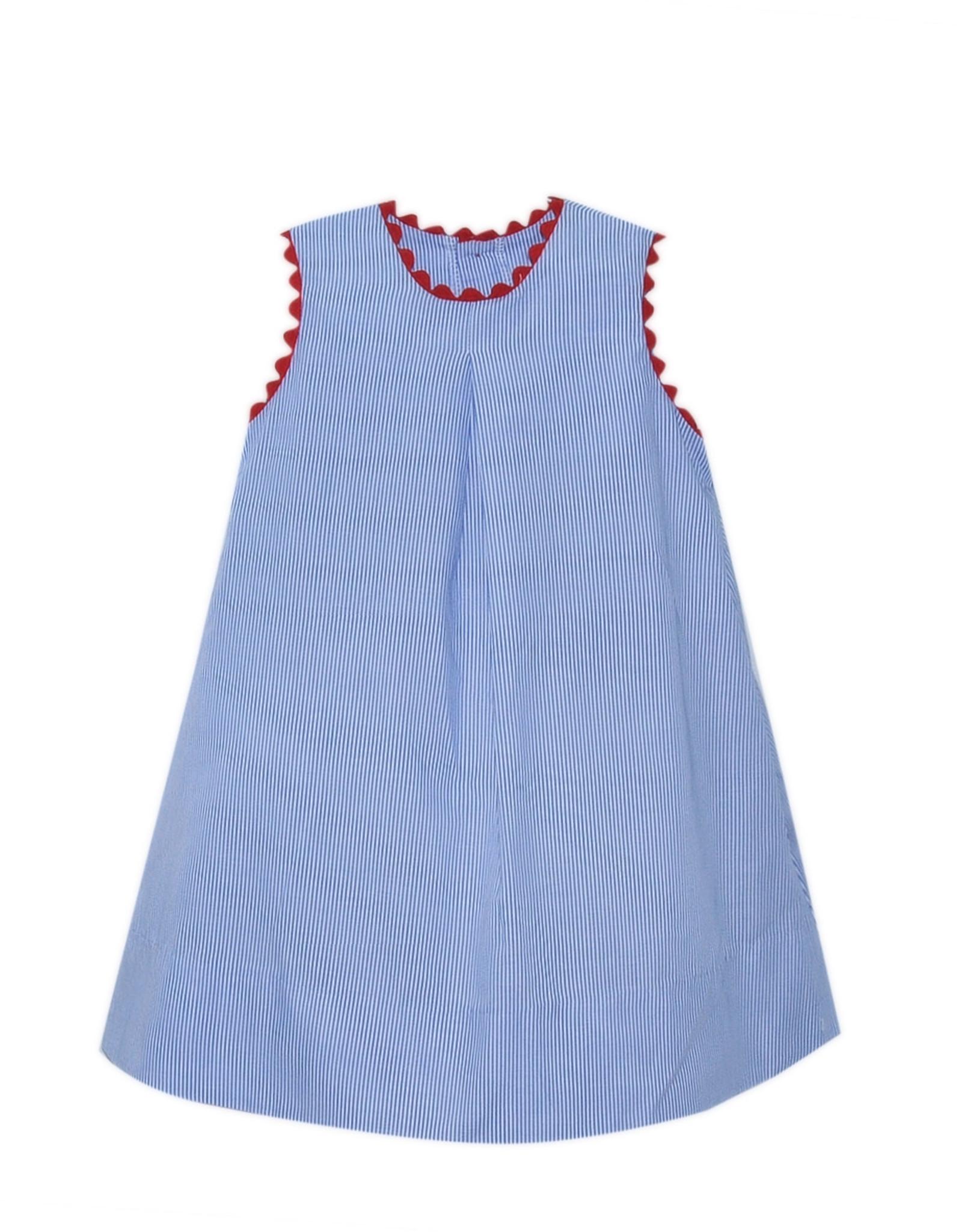 LullabySet Caroline Navy Striped Dress With Red Ric Rac