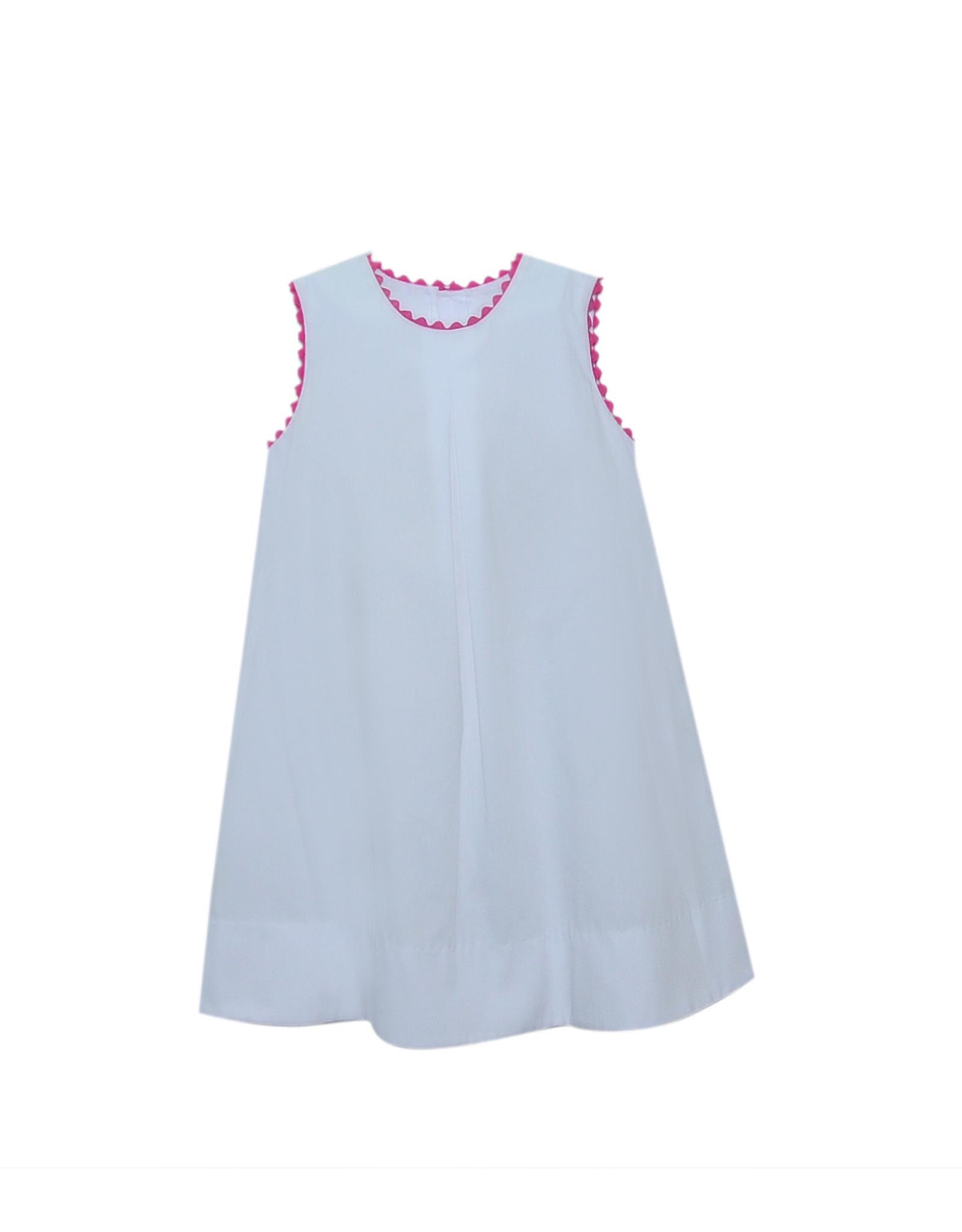 LullabySet Caroline White Dress With Pink Ric Rac