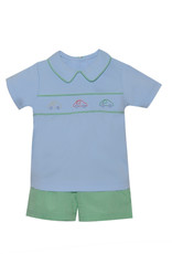LullabySet Christopher Blue Shirt With Cars And Green Shorts Set