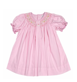 Petit Ami Pink Bunny Smocked Dress With Bloomer Set